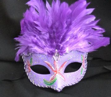 Vibrant purple feather Petite Mask